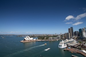Sydney Opera House and visiting cruise ship