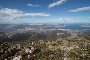 View from Mt Wellington, fires visible in the distance