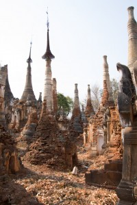 Old stupas by the lake