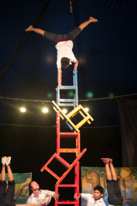 Chair balancing at the circus