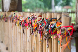 Wristbands, left in memory of the victims of the Killing Fields