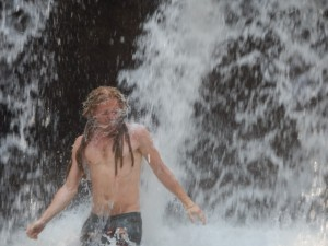 Testing the waterproof camera - Mario in a waterfall