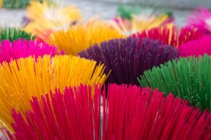 Colourful incense sticks
