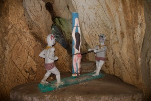 Odd sculpture in Am Phu cave